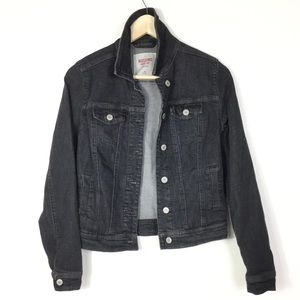 Black denim jean jacket XS
